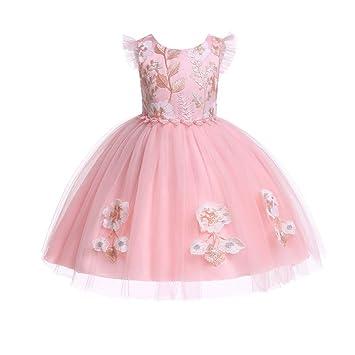 Waymine Kids Girls Floral Embroidered Bridesmaid Pageant Birthday Wedding Dress