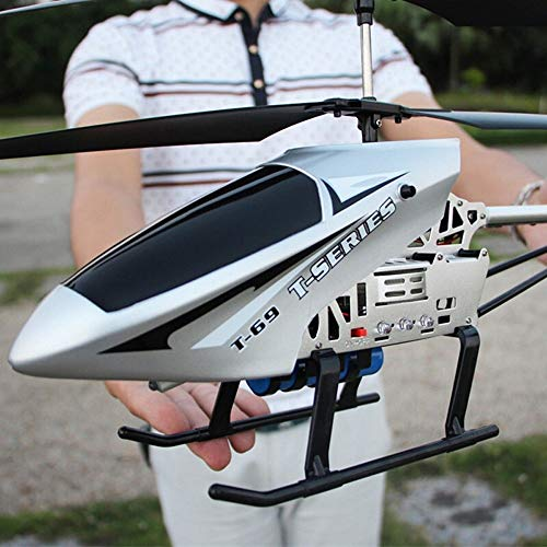 Kikioo Super Large Wireless Remote Helicopter Gifts For Teenagers Boys Girls 3.5 Channel 2.4GHZ Gyro RC LED In/Outdoor Radio Controlled Heli Adults Children Flying Holiday Birthday Toys Gifts Silver