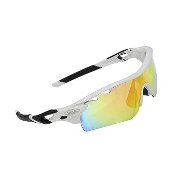 Lunettes de soleil polarisées DUCO Lunettes pour sport, cyclisme avec 5 verres interchangeables 0028 (Cadre noir)