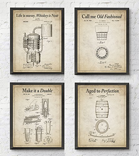 Whiskey Patent Wall Art Prints with Slogans, Set of 4, Unframed, Vintage Whisky Photos, 8x10 Inches