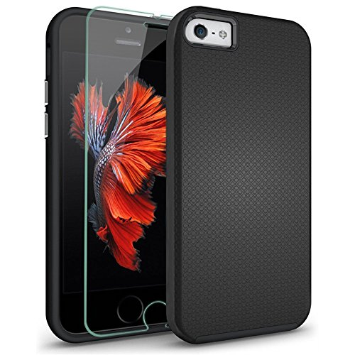 iPhone 5S Case, iPhone 5 Case, iPhone SE Case, COOLQO;reg TPU Bumper + Hard PC Hybrid Dual Layer Cushion + Tempered Glass Shockproof Defender Absorptive Cover & Skin for Apple iPhone 5/5S/SE (Black)