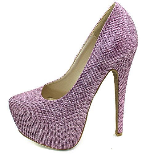 Pink Pointed High Fashion Extreme Women's Toe Shoes Platform High Hidden Pump Heel Glitter Sexy Stiletto Oqtqnxzp
