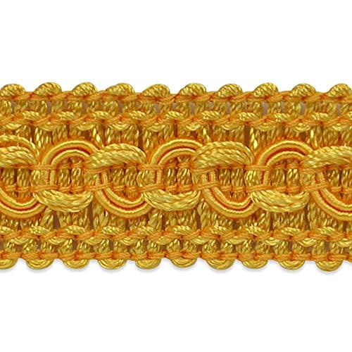 Sheena Woven Circle Braid Trim Yellow Gold (Precut 20 Yard)