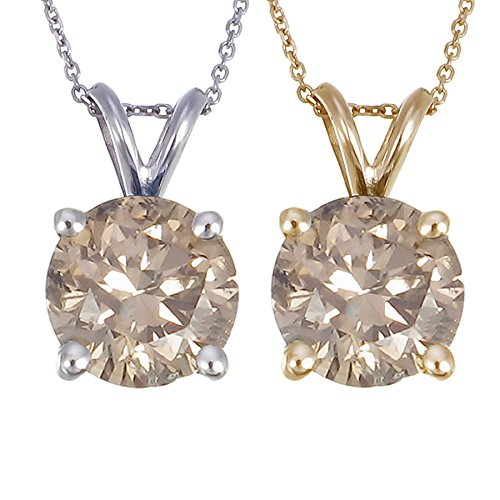 14K-Gold-Champagne-Diamond-Solitaire-Pendant-1-CT-With-18-Inch-Chain