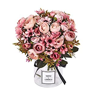 Sunm boutique Artificial Rose Daisy Flower Bouquet, Silky Rose Bouquets with Daisy and Leaves Floral Bouquets for Wedding Arrangements Table Centerpieces Garden Party Home Decor 13