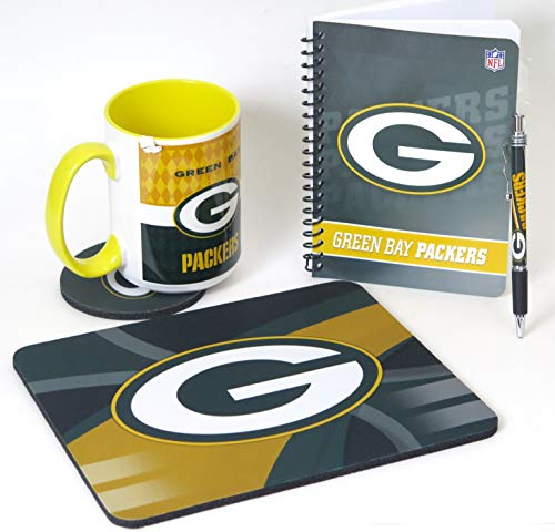Bay Office Set - Green Bay Packers Computer Workstation Set. Includes Large Coffee Mug, Mouse pad, Coaster Journal and Pen.