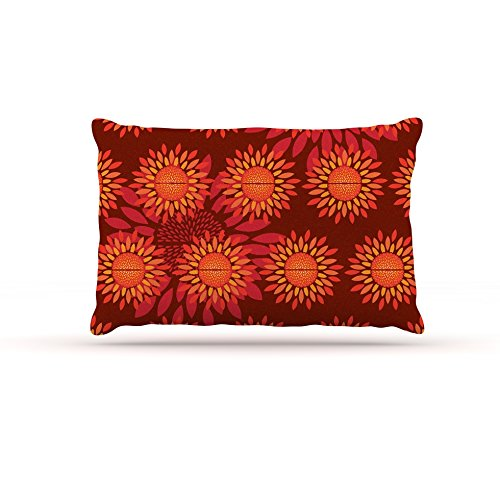30 by 40\ Kess InHouse Yenty Jap Sunflower Season  orange Red Fleece Dog Bed, 30 by 40