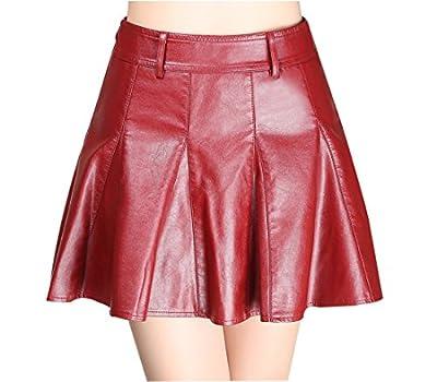 Gihuo Women's High Waist PU Faux Leather A-Line Pleated Mini Skirts