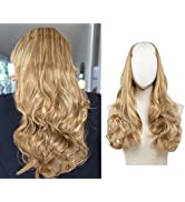 SARLA U Part Hair Extensions for Women Natuarl Wavy Curly Clip in Full Head Synthetic Dark Blonde...