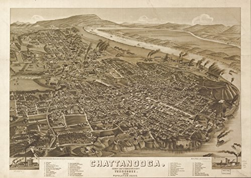 Map: 1886 Chattanooga, county seat of Hamilton County, Tennessee 1886|Chattanooga|Chattanooga Tenn|Tennessee|