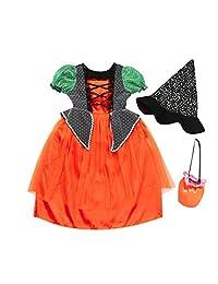 Veepola Kids Baby Girls Halloween Clothes Dress Party Dresses+Hat+Pumpkin Bag Outfits