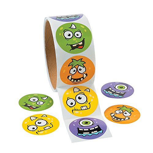 (Monster Face Roll of Stickers - 100 Pcs. Per)