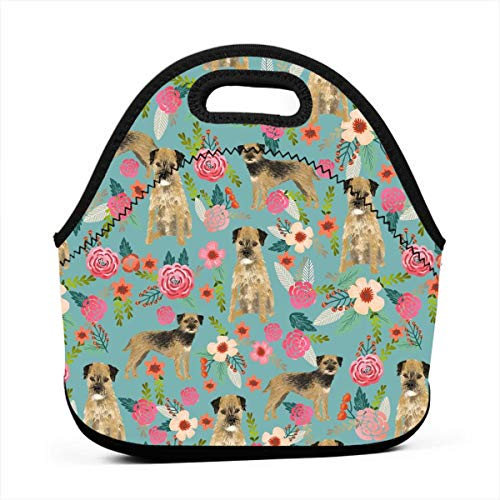 (Reusable Lunch Bags Border Terrier Florals Dog Breed Fabric Blue_117 Waterproof Insulated Lunch Portable Carry Tote Picnic Storage Bag Lunch box Food Bag Gourmet Handbag For School Office)