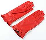 Ambesi Women's Fashion Fleece Lined Nappa Leather Winter Glove Red M