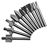 """Dophee 1/8"""" 3mm Shank HSS Router Bits for Dremel Woodworking Drill Rotary Tool Set 10PCs"""