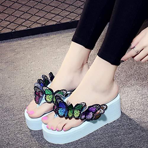 Plage Bleu De Chaussons Filles Chaussures Chic Femmes Beach Papillon Pantoufles Ciel Ete Manadlian Espadrilles Women Compensées Plateforme Shoes Romaines Floral Sandales Bohême wqOR47