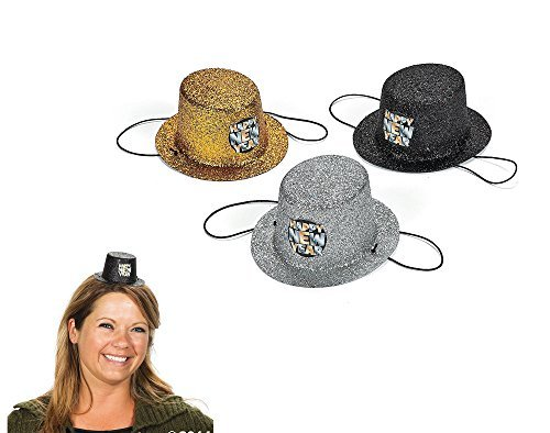 Price comparison product image 12 Assorted Happy New Year Glittered Mini Top Hats by CRAFTY CAPERS