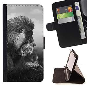 BullDog Case - FOR/LG Nexus 5 D820 D821 / - / lion love couple black white Africa animal /- Monedero de cuero de la PU Llevar cubierta de la caja con el ID Credit Card Slots Flip funda de cuer