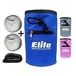 Elite Rock Climbing Chalk Bag and 2 x Chalk Balls – Chalk for Rock Climbing and Bouldering or use as Gym Chalk or Lifting Chalk – No Leak Drawstring Bag and Secure Zip Pocket – Blue