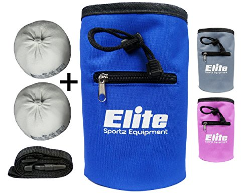 Elite Sportz Equipment Rock Climbing Chalk Bag and 2 x Chalk Balls - No Leak Drawstring Bag and Secure Zip Pocket, Blue