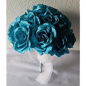Teal Rhinestone Rose Bridal Wedding Bouquet & Boutonniere 10