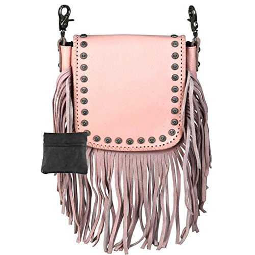 (Handcrafted Leather 4 in 1 Bundle Clutch Crossbody Biker Bag w Fringe & Coin Key Fob (Pink with Studded))