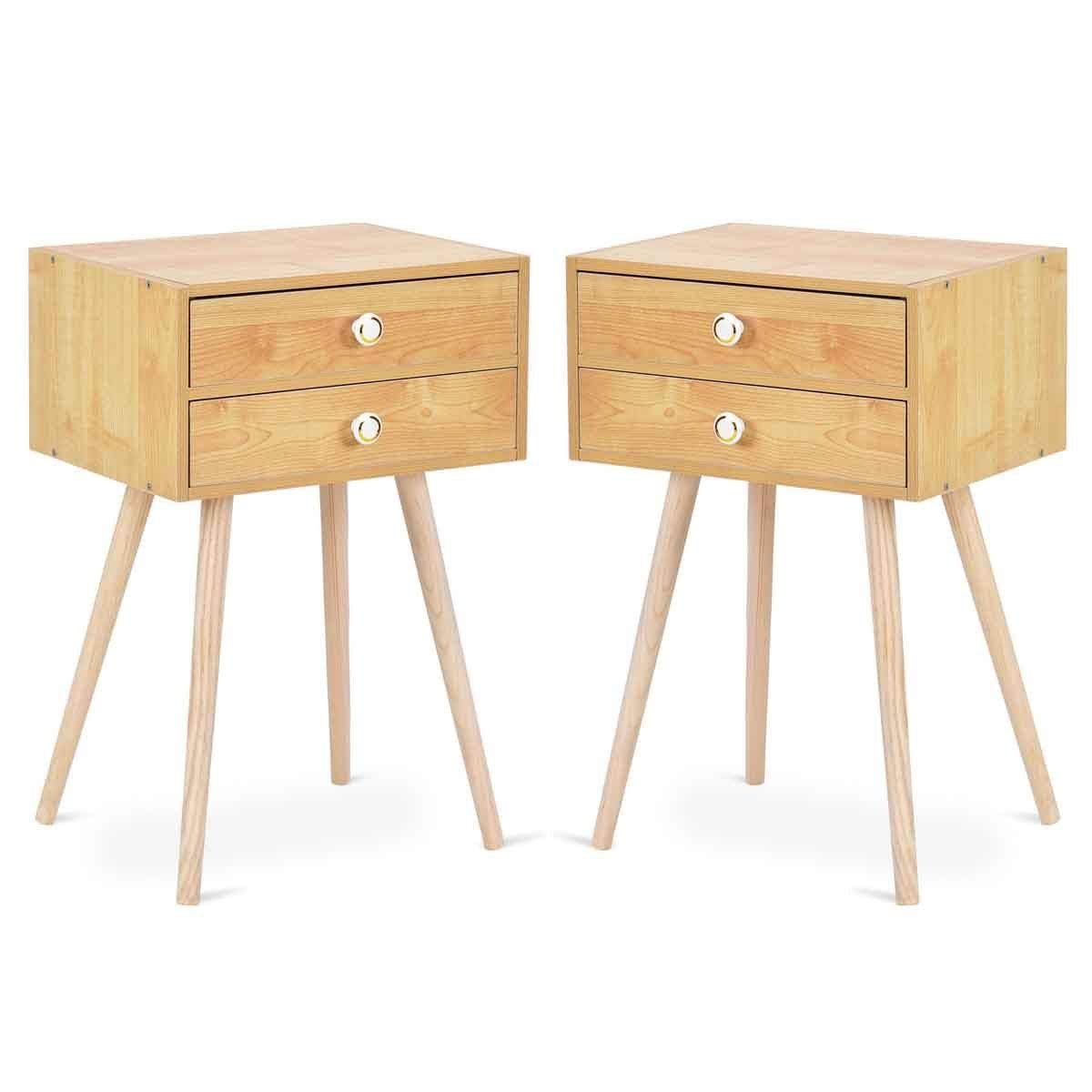 Giantex Set of 2 Nightstand W 2 Drawers for Bedroom Living Room Small Spaces Modern Home Furniture Simple Natural Legs Storage End Side Tables 2
