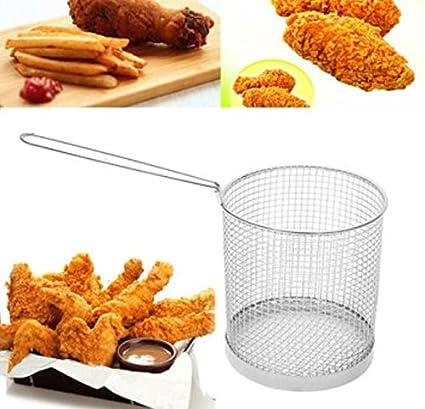 Redonda de acero inoxidable cesta de freír colador de mango largo Chips Scampi pollo frito freidora