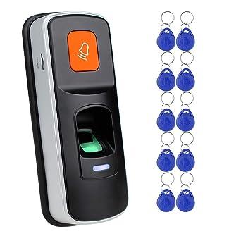 Lector de Control de Acceso RFID Independiente con Huella Dactilar Abrelatas Biométrico Soporte Tarjeta SD +