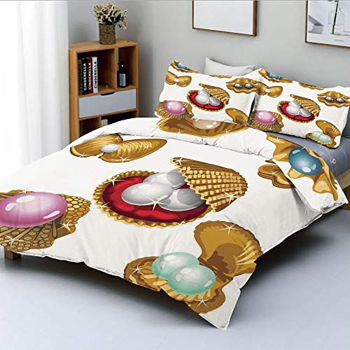 (Duplex Print Duvet Cover Set Twin Size,Set of Open Shells with Different Type of Pearls Wealth Ancient Gemstone of the Sea PrintDecorative 3 Piece Bedding Set with 2 Pillow Sham,Multi,Best Gift For Ki)