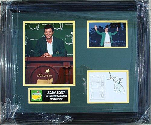 Adam Scott Hand Signed The Masters Score Card - Custom Framed