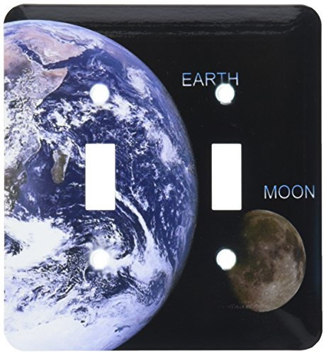 3dRose  lsp_76842_2 Solar System Earth and Moon Double Toggle Switch by 3dRose