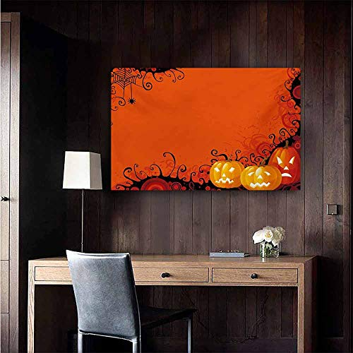 duommhome Spider Web Modern Frameless Painting Three Halloween Pumpkins Abstract Black Web Pattern Trick or Treat Bedroom Bedside Painting 20