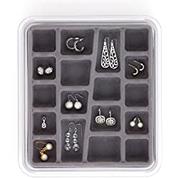 Neatnix Stax Jewelry Organizer Tray, 18 Compartments, Pearl Grey