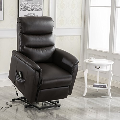 U-MAX Recliner Power Lift Chair Wall Hugger PU Leather with Remote Control (Coffee)