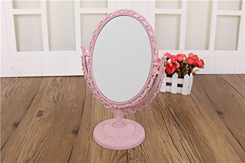 7-inch TabletopSwivel Vanity Makeup Mirror with 3x Magnification, Two SidedABS Decorative Framed European StyleMakeupMirror for Bathroom Bedroom Dressing Table- Oval (pink - Oval Pink Mirror