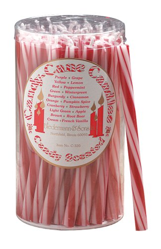 Biedermann & Sons Biedermann and Sons Candy Cane Peppermint Scented Candles, 50-Count, Red and White,
