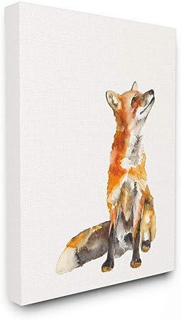 Amazon Com Stupell Industries Curious Fox Watercolor Orange Animal Painting Design By Jennifer Goldberger Wall Art 24 X 30 Canvas Home Kitchen