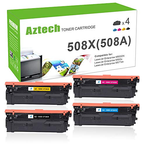 Aztech Compatible Toner Cartridge Replacement for HP 508X 508A CF360A CF360X CF361X CF362X CF363X (Black Cyan Yellow Magenta, 4-Packs)