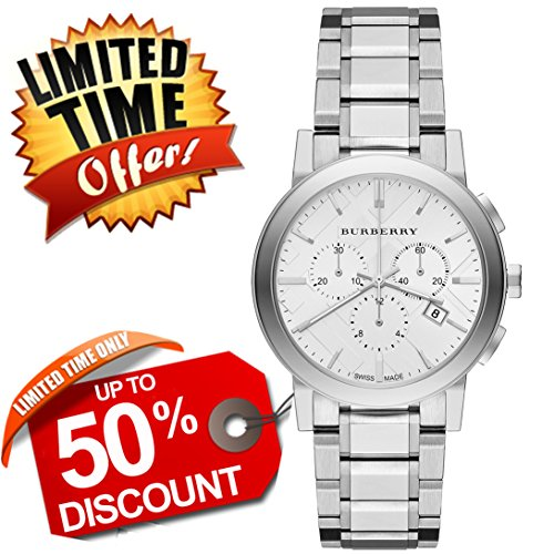 Burberry The City SWISS LUXURY Round Stainless Steel Chronograph 38mm Silver Tone Date Dial Women Watch BU9750