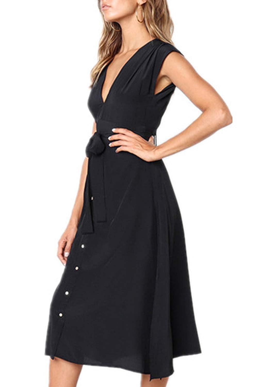 29e565e3eeb BOOSOULY Women's Summer Cap Sleeve V Neck Button Down Casual Midi Dress at  Amazon Women's Clothing store: