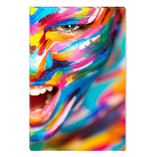 Startonight Canvas Wall Art Human Emotions Colored Painting, Dual View Surprise Artwork Modern Framed Ready to Hang Wall Art 100% Original Art Painting 23.62 X 35.43 inch (Colored Bright Paintings)