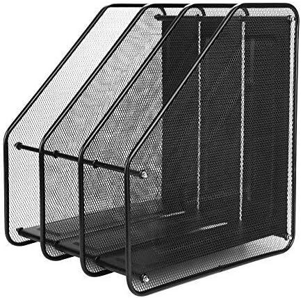 Revistero revista en metal carpeta soporte expositor plana con 3y 4compartimentos Sanner sede de documentación del escritorio Vogue Simple, color Noir(3compartiments) 295 * 316 * 245MM