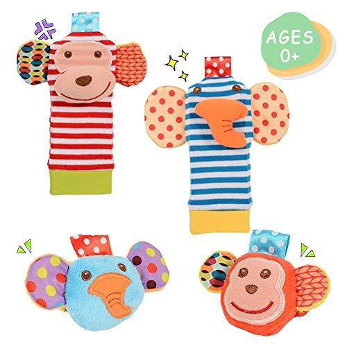 Daisy Cute Animal Wrist and Foot Rattles Finder Socks Set for Infant Baby Velcro Design Developmental Toys Set Elephant and Monkey - Wonderful Baby Gift