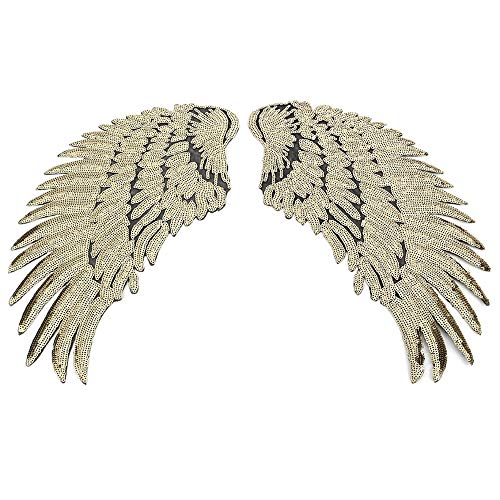 Gold Sequin Wings Appliques Iron On Stickers Small