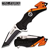 Tac-Force EMT Edition Spring Assisted 3mm Thick Stainless Steel 2 Tone Tanto Blade (TF-640EMT) Tactical Folding Knife, Includes Pocket Clip, Seat Belt Cutter and Glass Breaker
