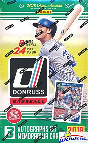 (2018 Donruss Baseball Factory Sealed HUGE 24 Pack HOBBY Box with 192 Cards & THREE(3) AUTOGRAPH or MEMORABILIA Cards! Look for Rookies & Autographs of SHOHEI OHTANI!)