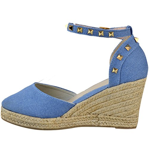 Fashion Thirsty Heelberry® Womens Ladies Low Heel Wedge Espadrilles Summer Sandals Casual Holiday Size New Mid Blue Denim / Gold Stud I3rdRwQNI7