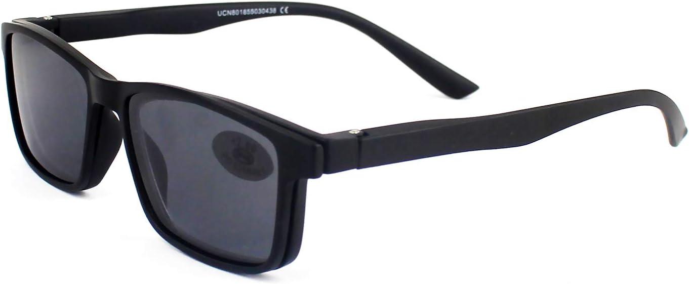 Gafas Sol Presbicia, Gafas de Lectura Polarizadas con Imán Clip para Sol, Gafas de Presbicia Vista Cansada Presbicia (+200, Negro)