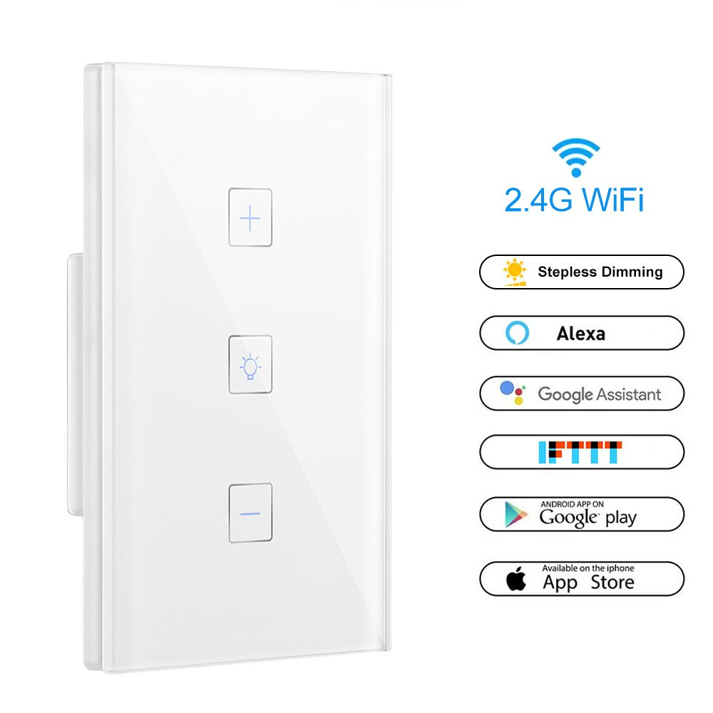 Smart Wifi Light Dimmer Switch Works with Alexa Google Home IFTTT Wall Touch Light Switch Remote Control Home Appliance Timer Function Overload Protection(Natural Wire Required)